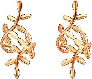 JewelryWe Non-piercing Clip-on Earrings Delicate Leaf Shaped Cartilage Earrings Ear Clips Ear Cuff for Women Girls,Rosegold