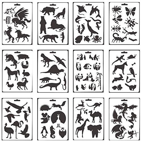 Schablonen Kunststoff Tier Zeichenschablonen Malschablonen Zeichnungs Schablonen Set Stencil Schablonen Wiederverwendbar für Scrapbooking Fotoalbum DIY Geschenkkarten Geschenke Kinder(12 Stück)
