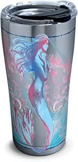 Tervis 1304552 Old Legend Mermaid Stainless Steel Insulated Tumbler with Clear and Black Hammer Lid, 20oz, Silver
