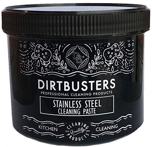 dirtbusters Edelstahl Reinigung Paste 500Gramm & Nicht Kratz Reinigung Pad, Edelstahl Reiniger für Kochfelder, Spiralbohrer, Herde, Mikrowellen Splash Rücken. weiß
