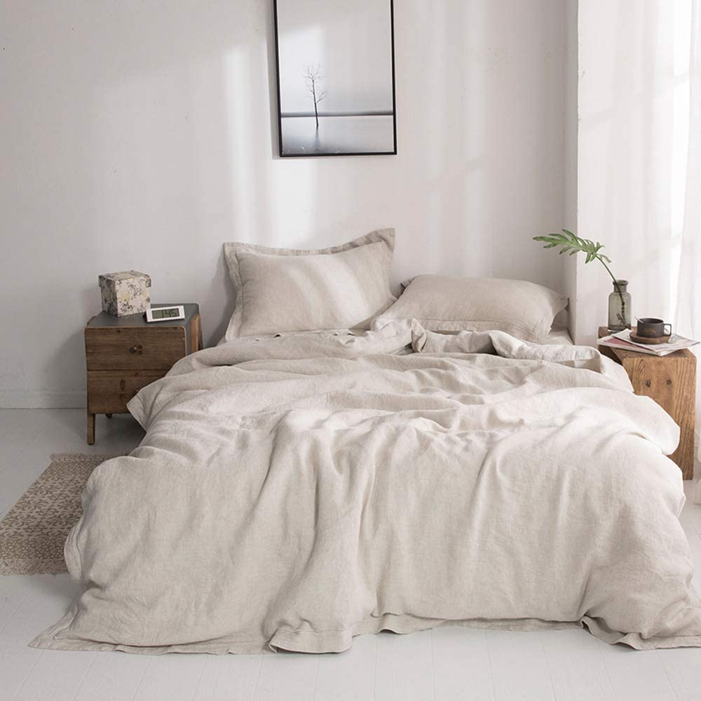 Twin Size 1 Duvet Cover /& 1 Pillow Sham 2 Pieces Simple/&Opulence 100/% Linen Duvet Cover Set with Embroidery Border Stone Washed Dark Grey with Button Closure Soft Breathable Farmhouse