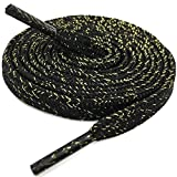 DELELE Thick Flat Shoelaces Black Gold Silk Tightly Woven Shoe Laces 2 Pair 47.24'