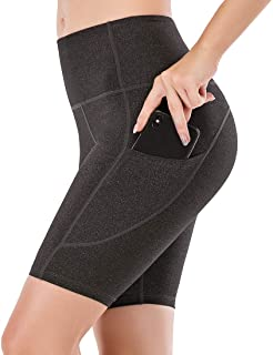 Lianshp Yoga Shorts with Pockets for Women High Waist Tummy Control Athletic Workout Running Shorts 8""