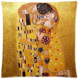 ElkinSaleStore Funda de cojín cuadrada con diseño del cuadro El Beso de Gustav Klimt, 45 x 45 cm, mezcla de algodón y color beis