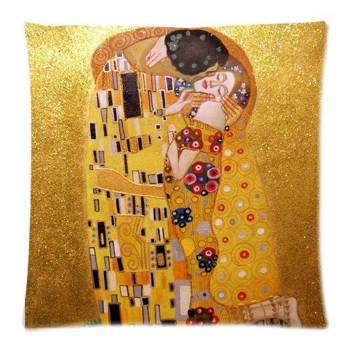 ElkinSaleStore - Federa per cuscino, quadrata con disegno de Il Bacio di Gustav Klimt, in misto cotone e lino, 45 x 45 cm, colore: beige