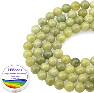 LPBeads 100PCS 8mm Natural Green Jade Beads Gemstone Round Loose Beads for Jewelry Making with Crystal Stretch Cord