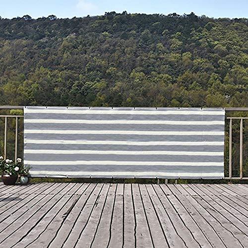 Sombra Solar Malla Cubierta Cubierta Privacidad Pantalla Malla Cubierta Parabrisas, Cubierta de Sombra para Patio Trasero con Balcón UV de Sombra Premium con Arandelas de Latón, Rayas Blancas Grises