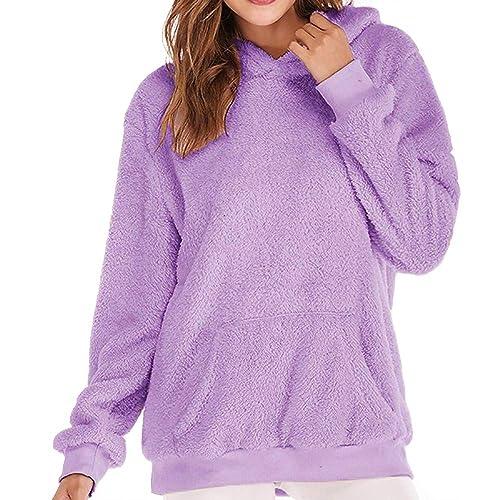 32cf2adf298 iDWZA Women Pure Winter Warm Wool Pockets Hooded Heat Sweatshirt Outwear  Hoodie