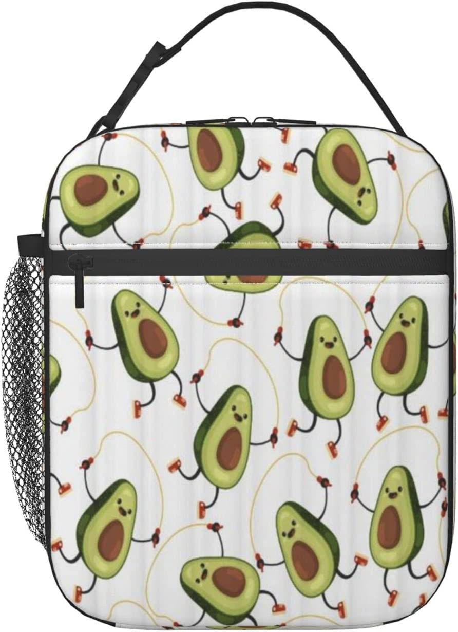 FAKAINU Bolsa de almuerzo Tote Cute Fruit Avocado Characteron Make The Jump Rope Exercises sobre fondo blanco, Lunch Box Cooler Bolsa de almuerzo con aislamiento con correa para el hombro para hombre