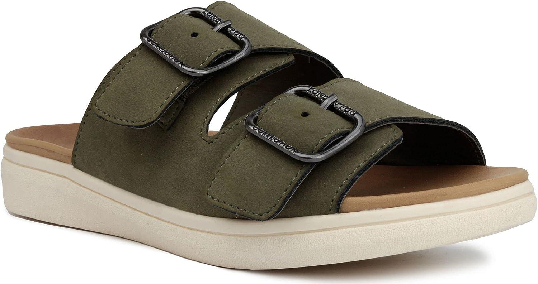 London Fog Womens Lorraine Comfort Slides, Double Buckle Strap Adjustable Sandals