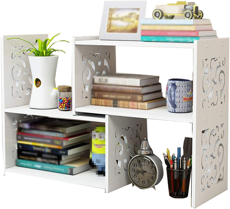 Bookcase,Wooden Desktop Bookshelf Small Bookshelf Storage Rack Shelf Adjustable,White,70  14  40cm