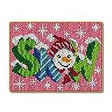 Latch Kits Alfombra Bordado Lo Hace Alfombra De Felpa Kit De Bordado Alfombra DIY Fabricación De Alfombras Decoración para El Hogar,Snowman,52x38cm/20x15 Inch