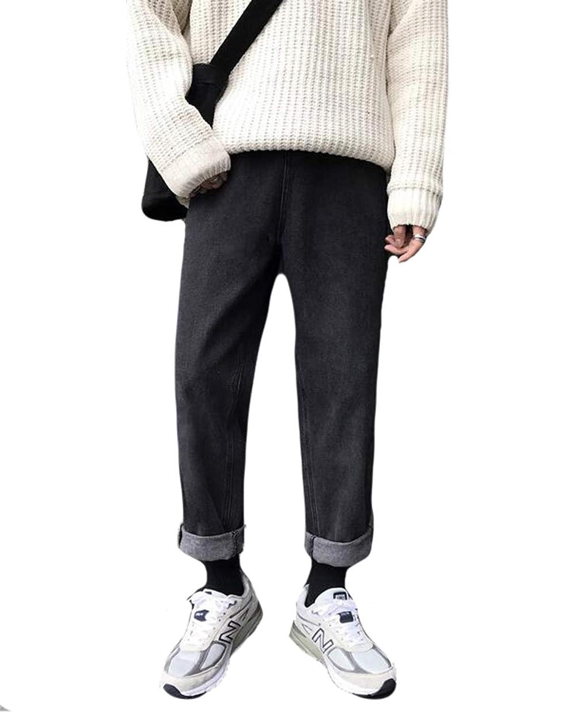PIITE デニムパンツ メンズ ファッション スキニーパンツ 秋冬 厚手 サルエルパンツ ゆったり 無地 韓国風 ズボン ワイドパンツ カジュアル ストレッチ ボトムズ ストリート系