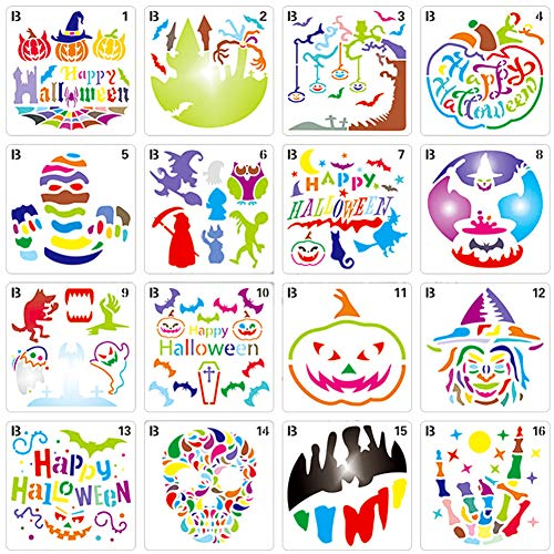 Plantillas de Pintura BESTZY 16 Piezas Plantillas de plástico para dibujo de Halloween Plantillas de Estarcido Reutilizables Decorativas de Bricolaje B