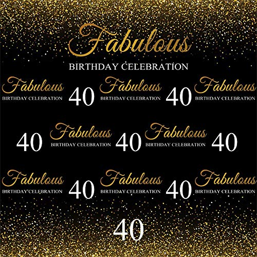 AOFOTO 8x8ft Fabulous 40th Birthday Backdrop Cloth Gold Small Sequins Lady Mother Woman Adults Forty Years Old Fortieth Bday Party Photography Background Vinyl Photo Studio Props