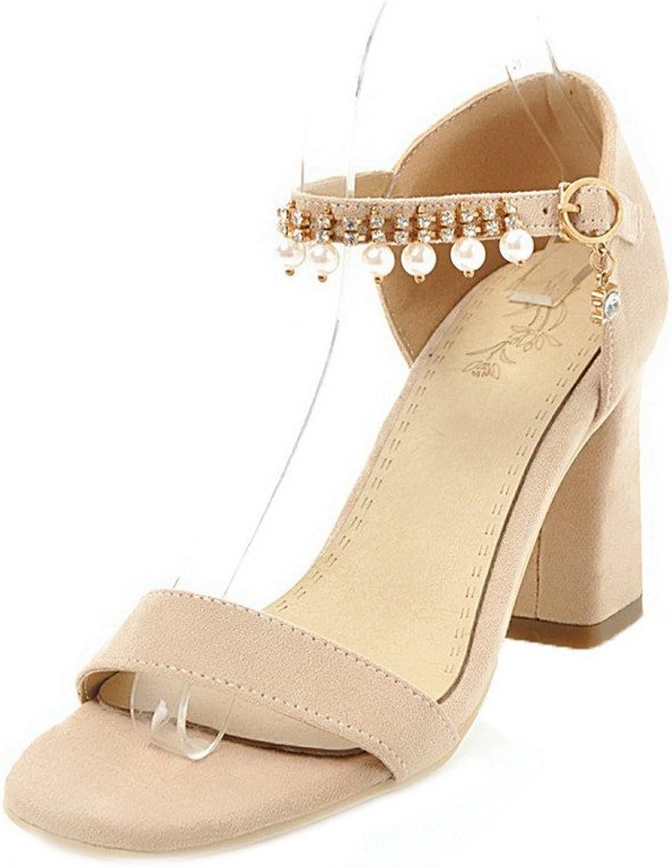 WeenFashion Women's Solid Blend Materials High-Heels Open-Toe Buckle Sandals, AMGLX009819