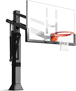 Pro Dunk Gold Driveway Basketball Goal Hoop with a High-Performance 60 Inch Glass Backboard That Can Be Effortlessly Adjusted Down To an Industry Low 5 Feet