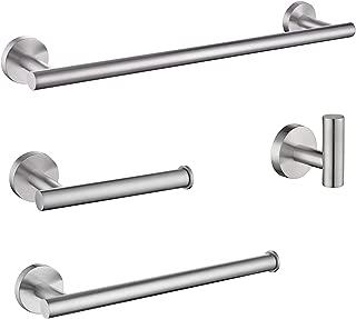 LuckIn Bathroom Hardware Set Brushed Nickel Finish, 4-Piece Modern Towel Rack Set, Bath Towel Rod Accessories for Bathroom Remodel