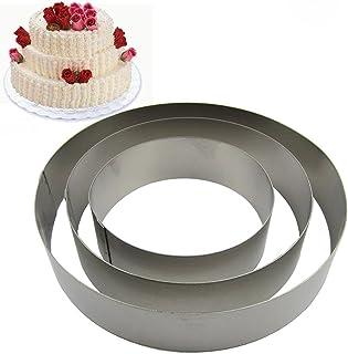 TAMUME Rond Moules à Gâteaux en Acier Inoxydable pour Moules à Forme Spécifique - Ensemble de 3 Moules à Pâtisserie (Rond)