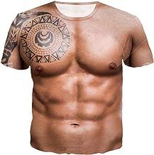 QQA Hommes Faux Muscle Poitrine Muscle T-Shirt Invisible Simulation Svelte Engraissement sous-V/êtements Manche Courte,S