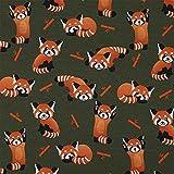 Jersey Stoff roter Panda, Kinderstoff, olivgrün (50cm x