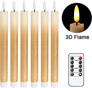 DRomance LED Flameless Taper Candles Battery Operated with Remote and Timer, Set of 6 Real Wax Warm Light 3D Wick Flickering Window Candles 0.78