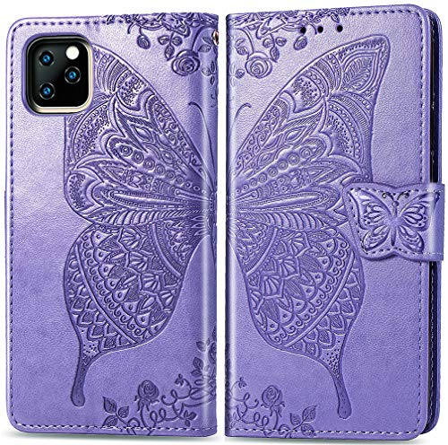 MEUPZZK Wallet Case for iPhone 11 Pro, Embossed Butterfly Flower Premium PU Leather [Folio Flip] [Kickstand] [Card Slots] [Wrist Strap] [5.8 inch] Cover for iPhone 11 Pro (A-Lavender)