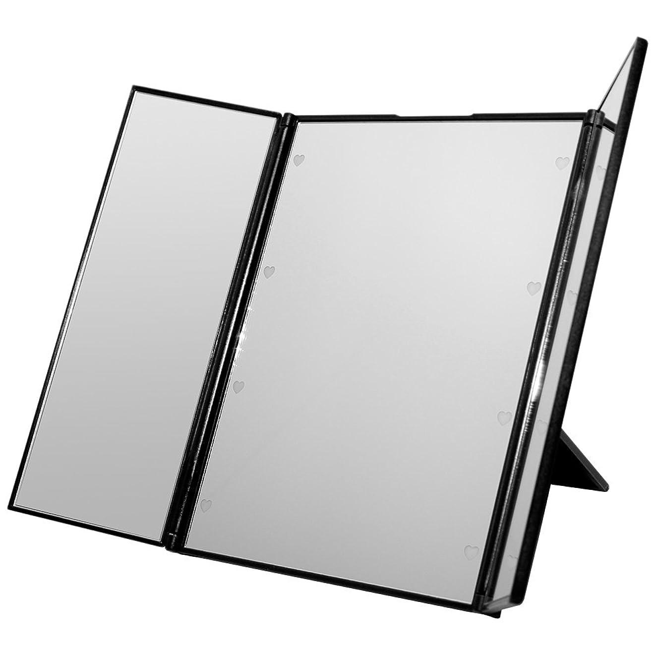 種をまくハンドブック動物GoodsLand 【 ハート型 LED ライト付 】 卓上 折りたたみ 三面鏡 大型 大きい かわいい スタンド ミラー メイク アップ ブライトニング GD-LED-3MR-BK