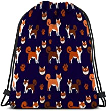 Casual Drawstring Bag Lightweight For Men And Women cute happy shiba inu dog smiling isolated white side view funny shiba inu dog smile flat