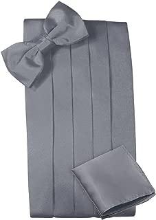 Mens Satin Cummerbund Bowtie Hanky set, 4 Pleat, Large Variety of Solid Colors Available, by Platinum Hanger