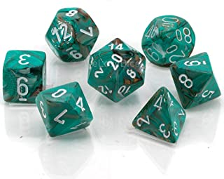 Chessex Marble Polyhedral 7 piece Dice Set, Oxi Copper/White