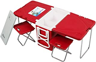 Giantex Rolling Cooler Picnic Table Multi Function for Picnic Fishing Portable Storage Food Beverage Included Foldable Table W/ Two Chairs Camping Trip Cooler Children Size (Red)