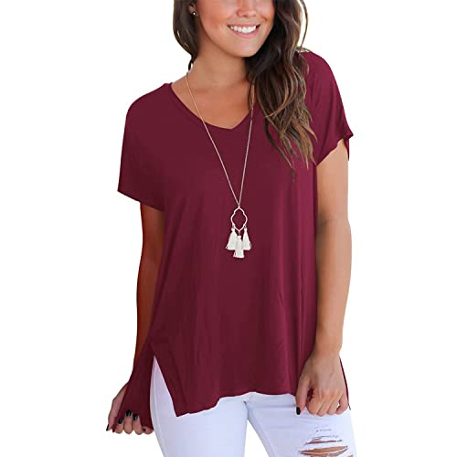 44b178d60e114e Women T Shirts - V Neck Tops Summer Basic Casual Loose Short Sleeve Tee  with Side