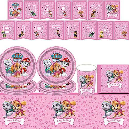 52PCSDecoración de vajilla de fiesta de cumpleaños para niños, adecuada para decoración de vajilla de fiesta de cumpleaños temática,regalos, etc. (rosa)