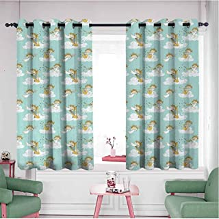 KAKKSW Home Curtains, Thermal Insulated Blackout Curtains, Angels Playing Harp in Sky Clouds Myth Folk Lyre Folk Music Band Joy, 55