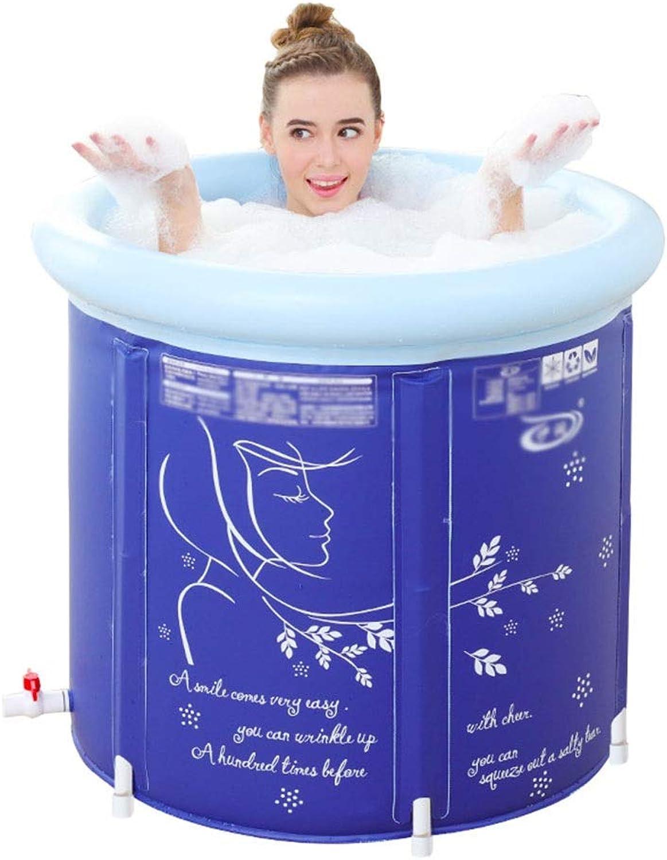 Xing Hua home Badewannen Faltende Badewanne Nach Hause Verdickung Badefass Badezimmer Kunststoff Badewanne Badewanne Für Erwachsene Faltbad (Farbe   Blau, Größe   65  65  65cm)