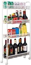 Yxsd 4 Tiers Slim Slide Out Storage Tower - Storage Rack with Wheels Great for Kitchen, Bathroom Home Organizer,Floor-Stan...