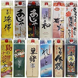 奄美黒糖焼酎 1升紙パック特選品 (里の曙(3年貯蔵酒),れんと他) 12本セット