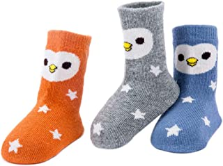 Wimagic - 3 Pares de Calcetines de algodón Antideslizantes para bebé, diseño de Dibujos Animados, Suaves y Transpirables, algodón, Bird Pattern L, 3-5 años