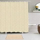 TARTINY 2-teiliges Duschvorhang-Set mit rutschfesten Teppichen,Orangebrauner diagonaler Fliesendruck mit 12 Haken,Badezimmerbedarf,rutschfeste Badematte, wasserdichter Duschvorhang