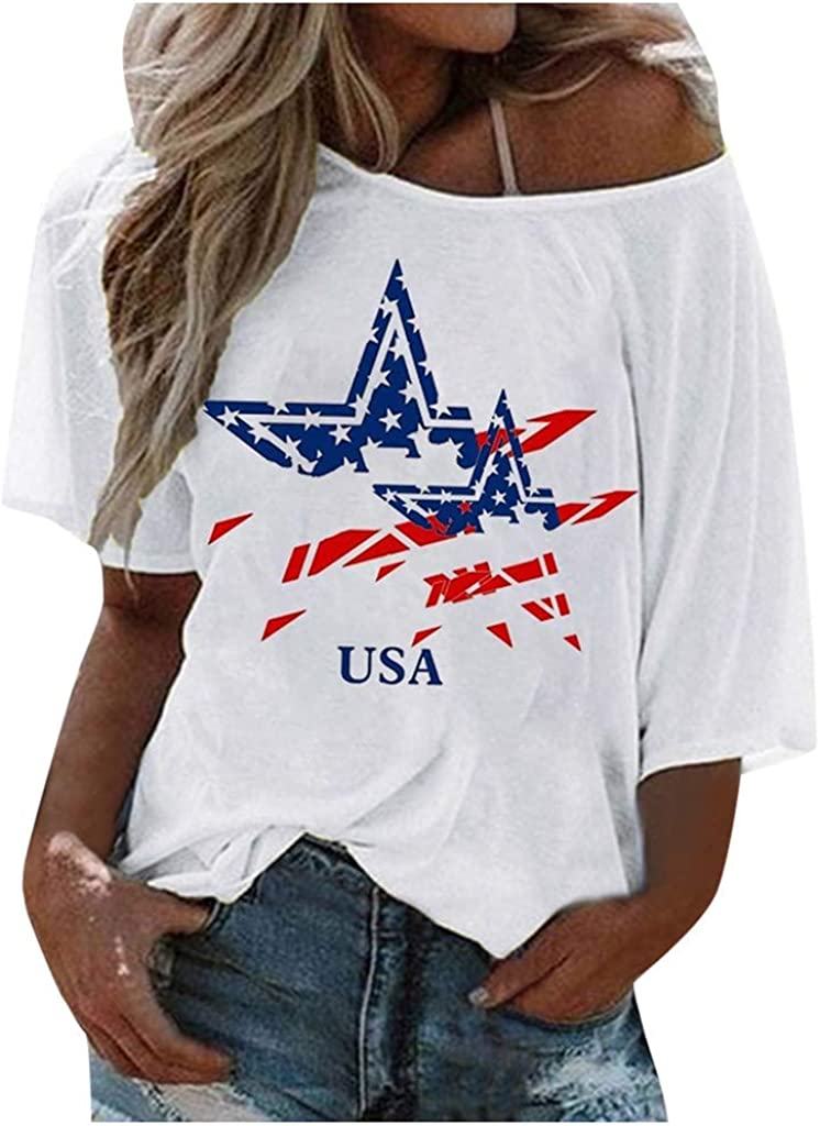 Weginte Special price for a limited time 2021 model Women T Shirts Casual Summer Shoulder Sleeve Short One C