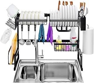LANGRIA 水切りラック シンク上 食器水切り 乾燥ラック ステンレス製 水切りかご 台所 食器収納 スペース有効活用 幅65CM