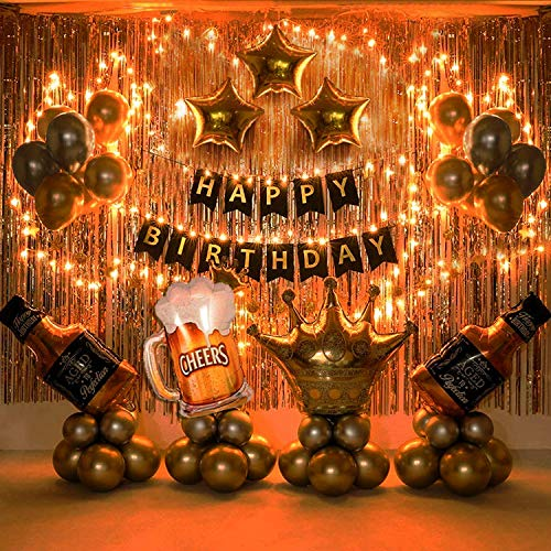Party Propz Happy Birthday Banner Decoration Kit 63 Pcs Set for Husband Boys Balloons Decorations Items Combo with Cheers Foil...