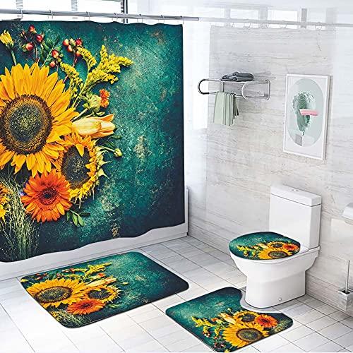 ETOPARS Sunflower Badezimmer Duschvorhang Teppich Set 4-teilige weiche und rutschfeste Badematte, U-förmiger Kontur Teppich, Toilettendeckelabdeckung 72 x 72 Zoll Vorhang