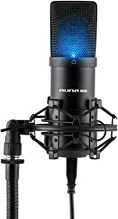auna MIC-900B LED - USB Condenser Microphone, Cardioid, Metal Housing, Freq. Range: 30 Hz - 18 kHz, 16mm Electret Micropho...
