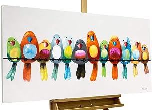 Kunstloft® Cuadro en acrílico 'Amigos para Siempre' 120x60cm | Original Pintura XXL Pintado a Mano sobre Lienzo | Pájaros Patria Multicolor | Cuadro acrílico de Arte Moderno con Marco
