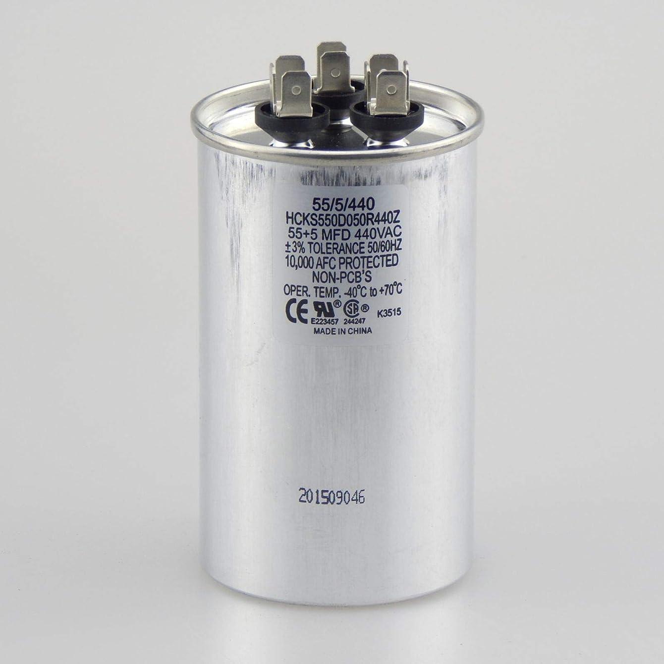 The HVAC Genius 55+5 uf MFD 370/440 Volt Dual Run Capacitor 55/5/440 Condenser Straight Cool/Heat Pump Air Conditioner