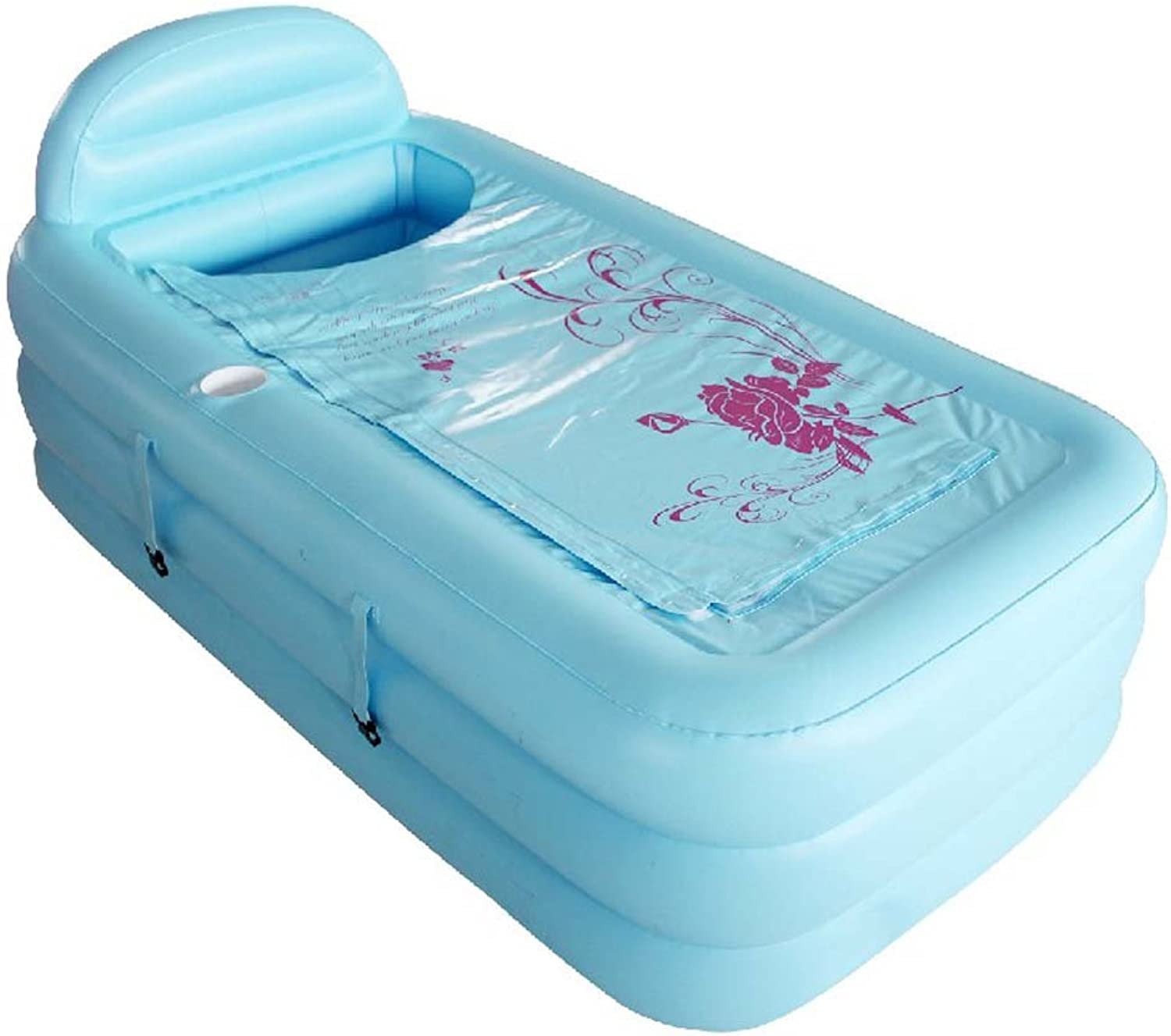 HAO SHOP Inflatable Tub - SPA Large Plastic Tub-Thickening Collapsible Adult Bath for Bedroom Bathroom Living Room Swimming Pool Garden (color   bluee)