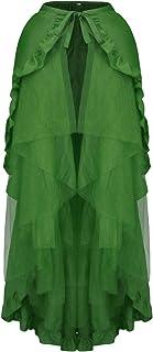 CHARMIAN Women's Steampunk Gothic Ruffled Layered Tulle Tutu Bustle Skirt Wrap