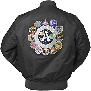 CORIRESHA Mens Apollo Space Embroidered Patches Slim Fit Bomber Jackets Windbreaker